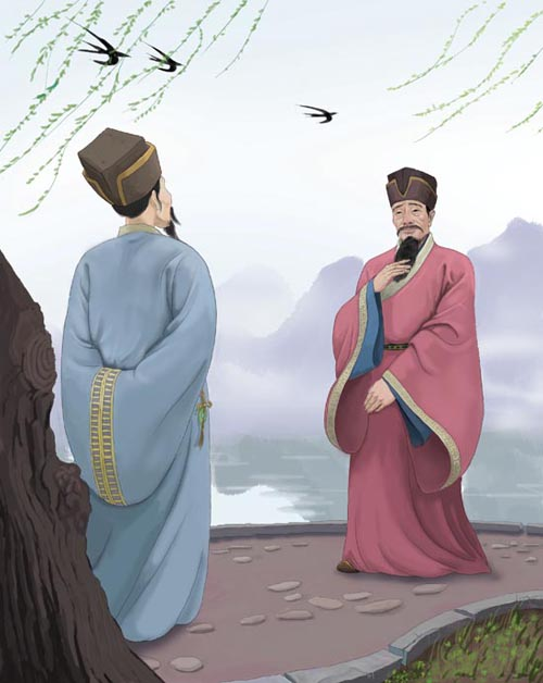 """Yan Shu (right) encountered Wang Qi while traveling to Hangzhou to assume office. He invited Wang, second in command of Jiangdu County, for dinner, and told him of his trouble: he was working on a poem, and could not come up with the next phrase after: """"Helplessly, the flowers wither away."""" Wang Qi, deep in thought, looked up into the sky. Some swallows flew past. """"Why not use: 'The swallows, once seen, return again'?"""" he said. Yan heard the verse, shouted """"Bravo!"""" and adopted it. It remains a familiar saying in Chinese to this day."""