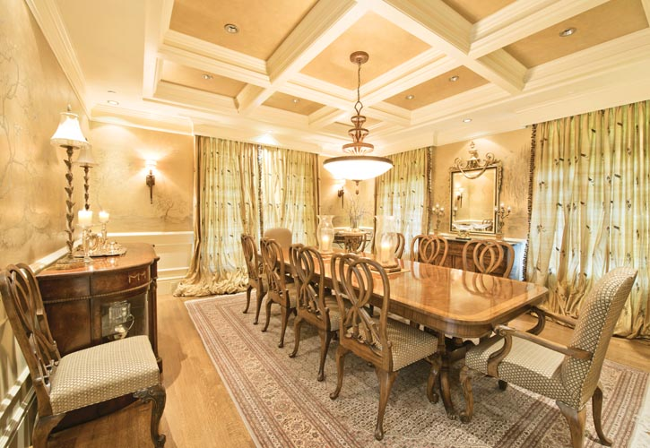 Gorman Studios contributed this formal dining room's hand-painted chinoiserie wall coverings.