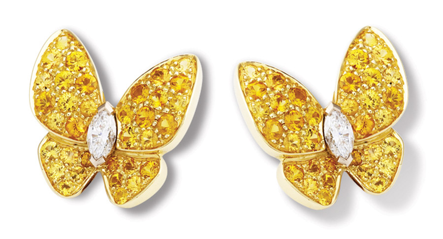Van Cleef & Arpels Two Butterflies Earrings ,   Price upon request   Take flight in a pair of butterfly earrings that create a mesmerizing effect, winking on the earlobes. Unexpected yellow sapphires cast a flattering glow.   At Birks, (604) 669-3333,  maisonbirks.com