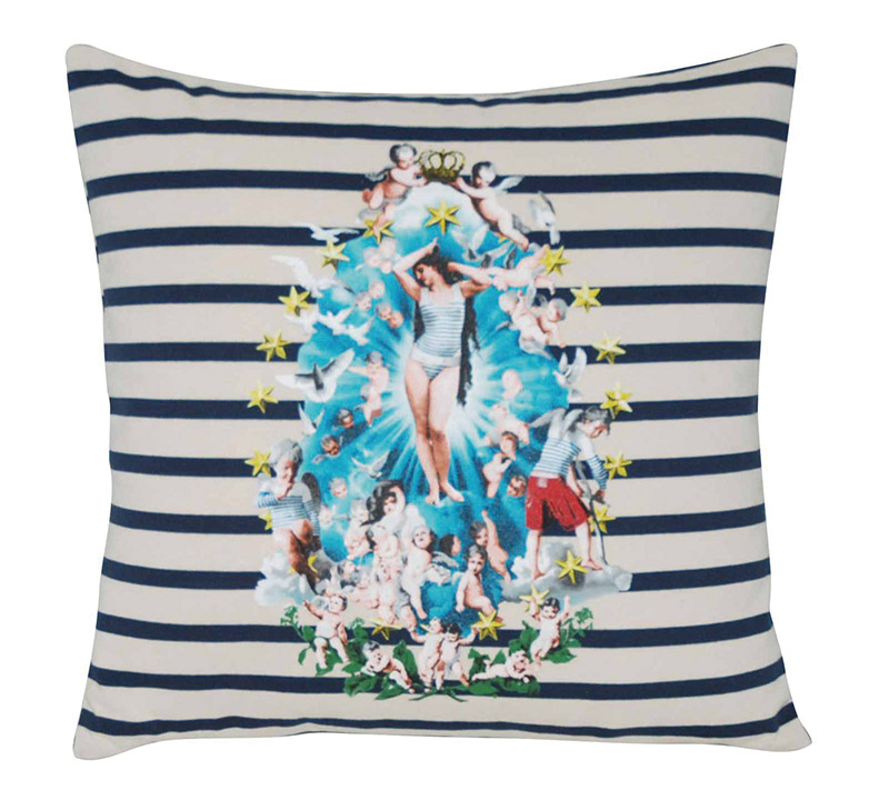 Roche Bobois Androgyne Cushion, $270 A Botticelli beauty lounges atop orderly navy stripes for a quirky pastiche that adds personality. At Roche Bobois, (604) 633-5005 roche-bobois.com