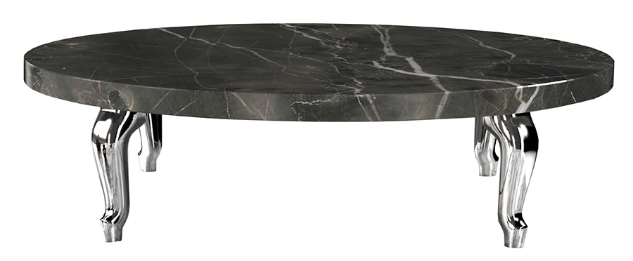 Moooi Bassotti Coffee Table, Starting at $900 Place a richly veined black marble tabletop front-and-centre in a living room: the monolithic grandeur is striking. At Livingspace, (877) 683-1116 livingspace.com