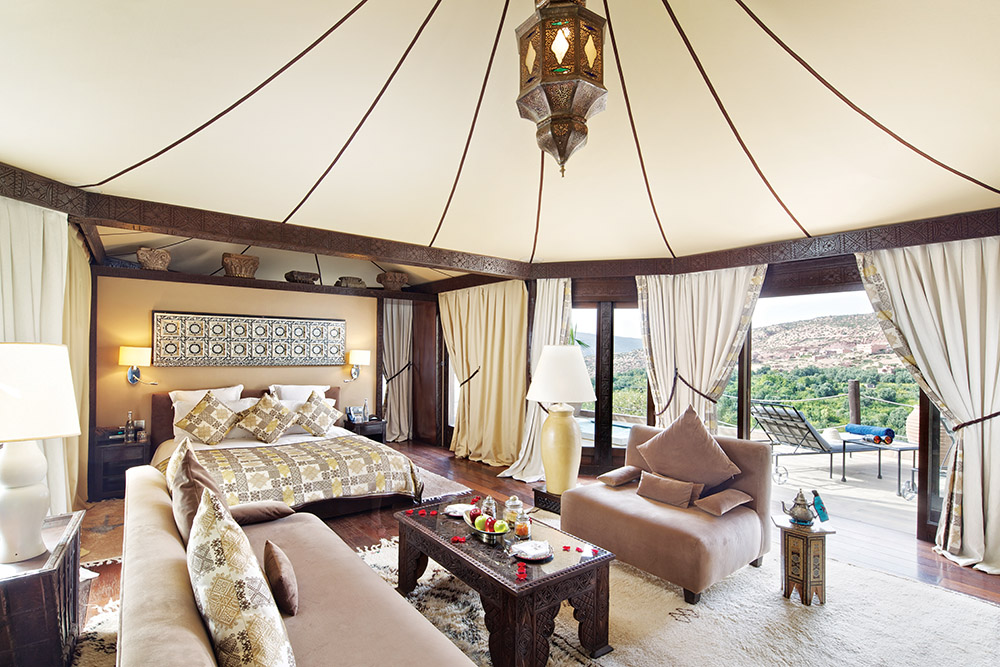 The Berber tent rooms are in high demand, and with the lavish decor and privacy, you can see why.