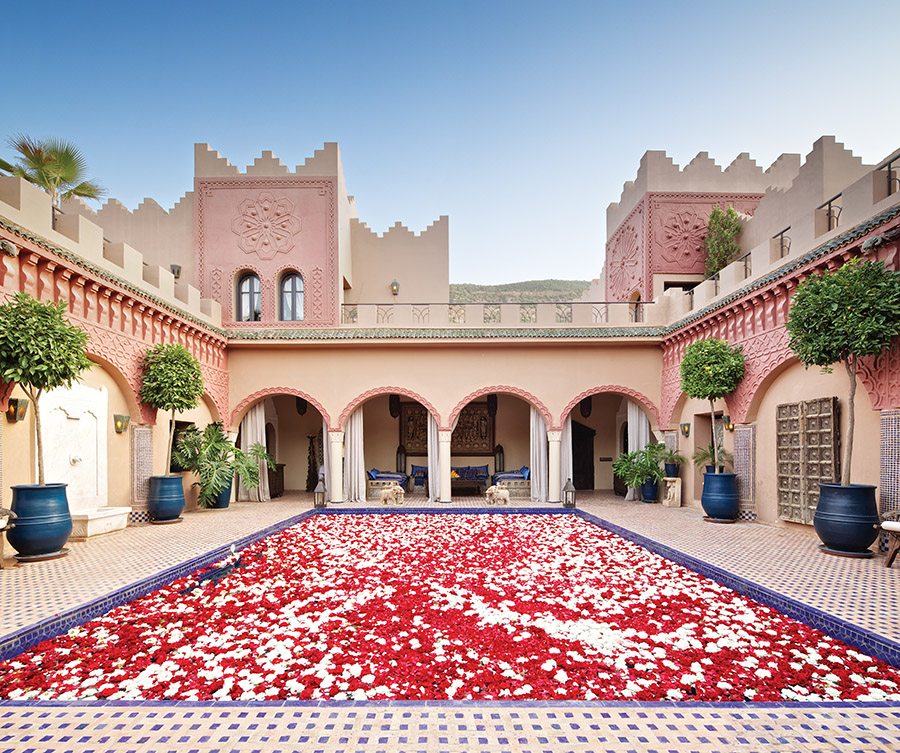 When the sun starts to go down, you'll begin to smell the flower petals from the courtyard pool. This is the perfect spot for a cocktail before dinner.