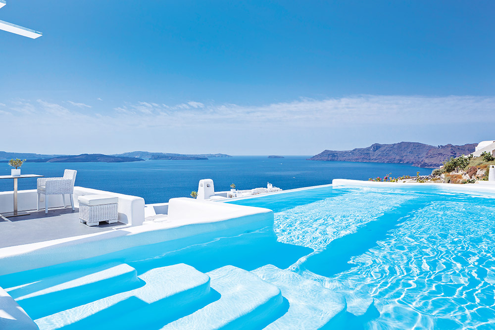 Canaves Oia Hotel in Santorini, Greece, offers donkeys you can ride down to the beach, but with their new infinity pool, you'll never need them.
