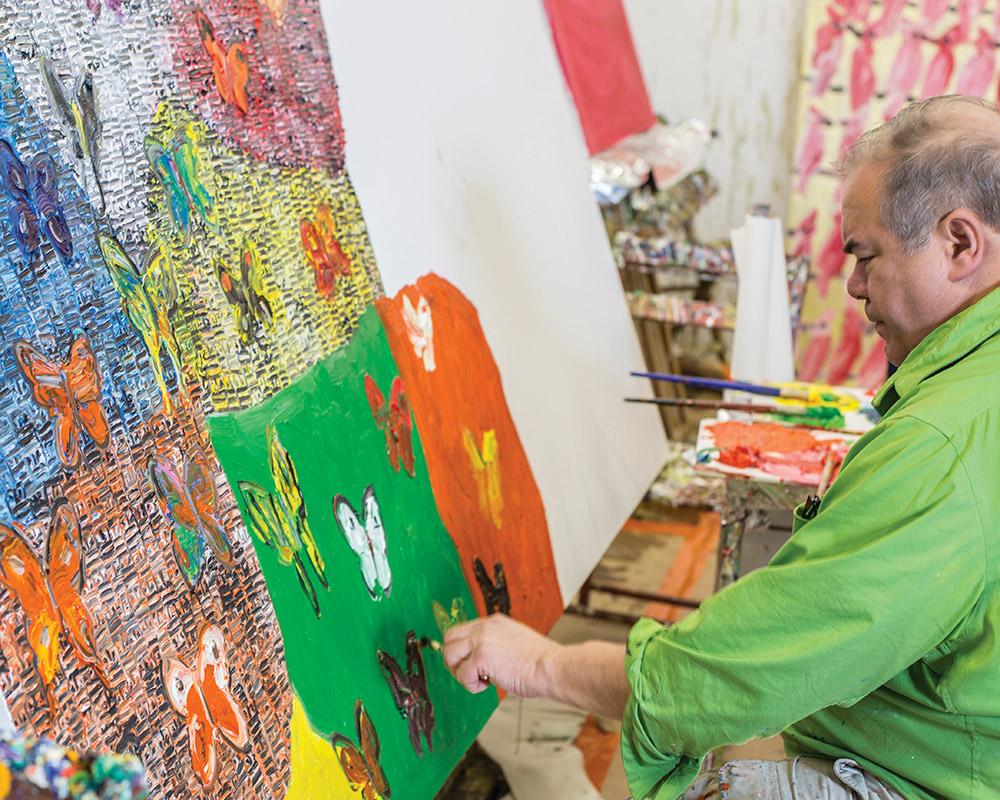 """Slonem painting """"Guardians & Butterflies"""""""