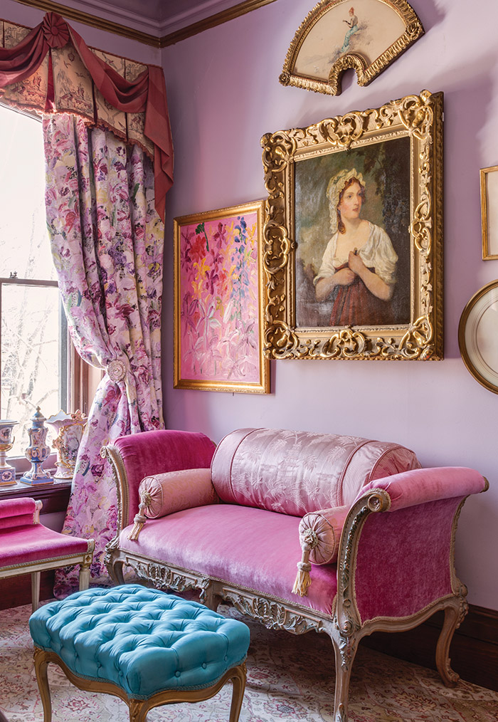 Slonem pulled from Lee Jofa's Groundworks paint and textiles collection for Cordts Mansion's Lavender bedroom.