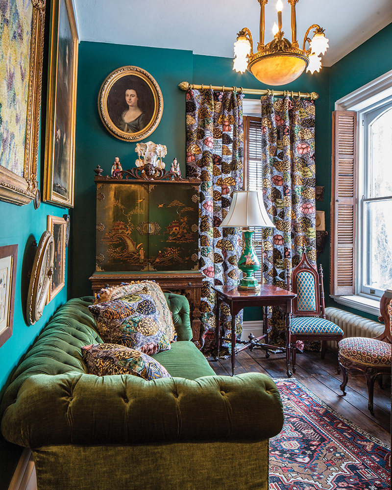 The Teal room in Slonem's own Cordts Mansion, a residence listed on the National Historic Register.