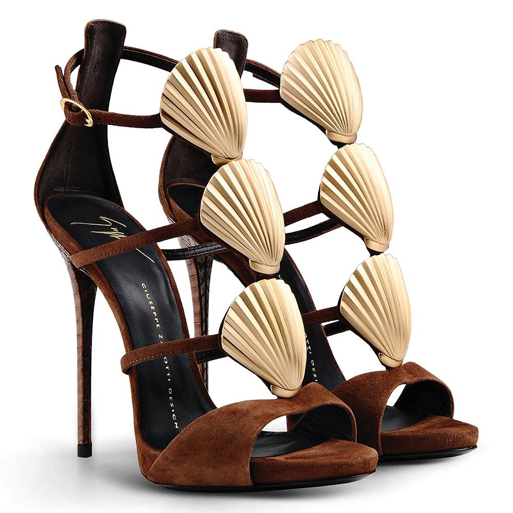 Giuseppe Zanotti Gold Metal Shell Sandals   US$1,875