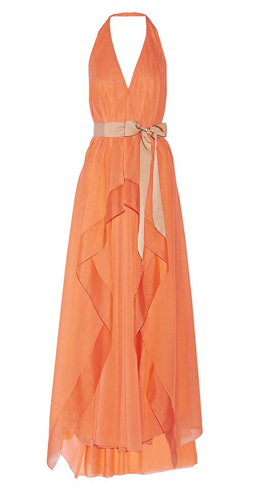 Donna Karan Grosgrain Belted V-Neck Scarf Halter Evening Gown$4,116