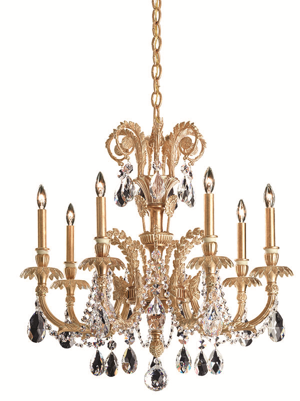 Schonbek Genzano GE4707 Chandeliers Price upon request Command attention with a palace-worthy chandelier that sheds golden light between crystal teardrops and delicate vines. At The Lighting Warehouse, (604) 270-3339 thelightingwarehouse.com
