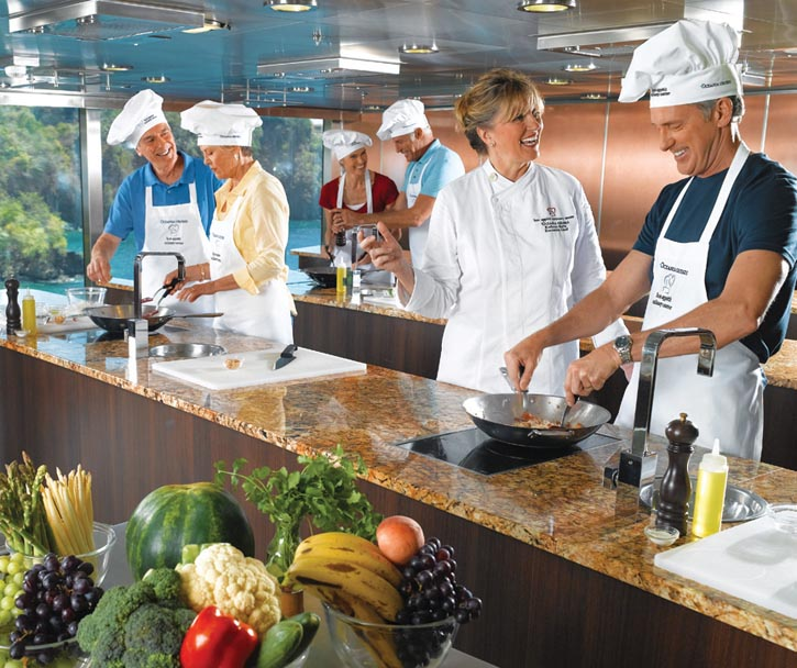 Oceania is the first cruise line to offer hands-on cooking instructions in onboard guest kitchens.