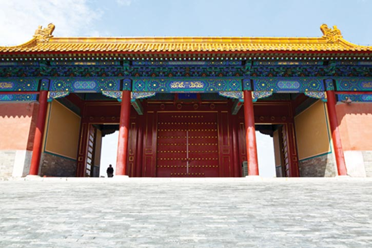 Vermilion lacquer gates inside the Forbidden City in Beijing. Layers and layers of life throughout Chinese culture, big things, small things, even doornails, carry deep connotation.