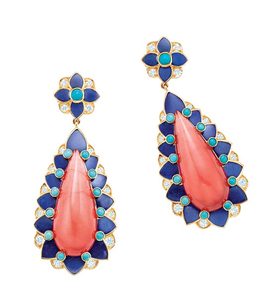 Tiffany Earrings with cabochon rhodochrosite, lapis lazuli and turquoise with diamonds in 18k gold  At Tiffany Boutiques