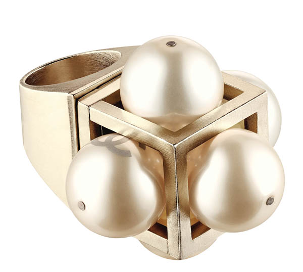 Chanel Golden metal ring with pearls $1,250 At Chanel Boutiques