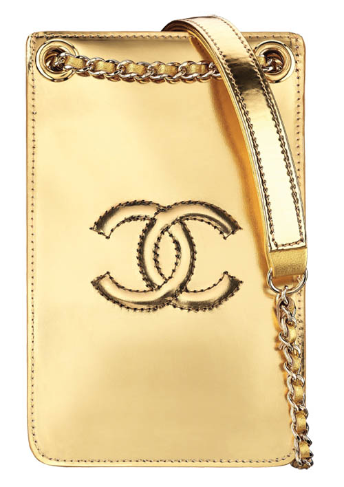 Chanel Golden patent  calfskin phone holder $1,550 At Chanel Boutiques