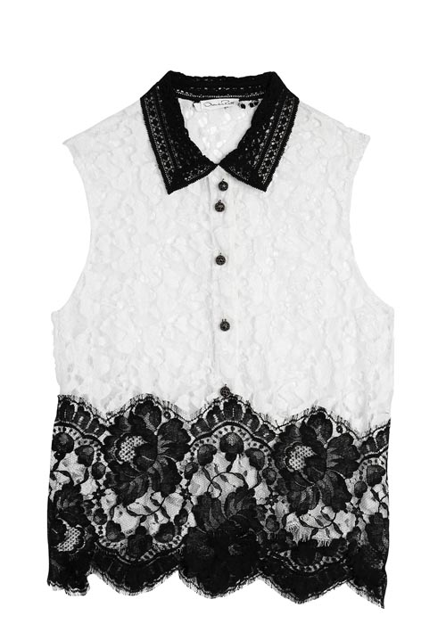Oscar de la Renta Sleeveless lace top with crystal buttons   $1,565   At Holt Renfrew