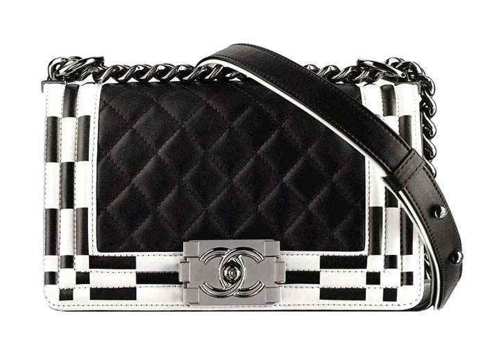 Chanel black and white leather BOY quilted flapbag $3,725 At Chanel Boutiques