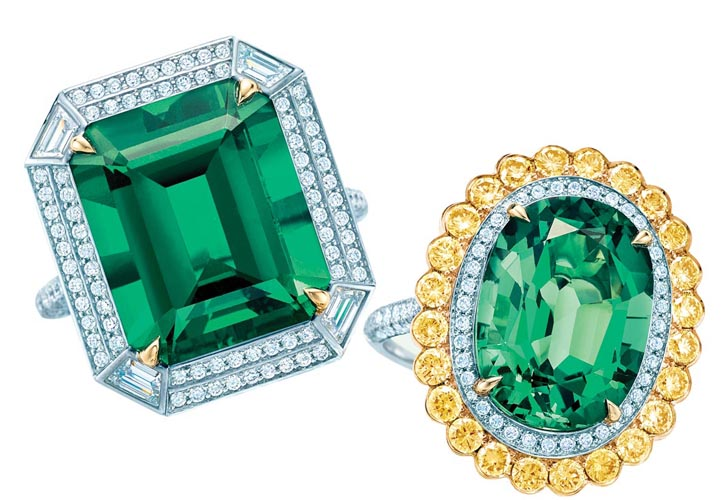 Tiffany diamond and emerald rings At Tiffany Boutiques