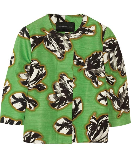 Jonathan Saunders Tilly cropped tulip-print slub cotton-blend jacket $1,231 At net-a-porter.com