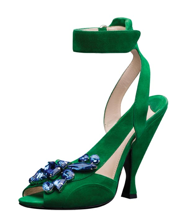 Prada green sandal with ankle strap   $1,250    At Holt Renfrew
