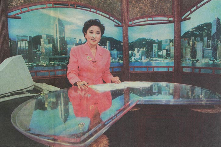 The front page of South China Daily during the lead up to Hong Kong's handover to China, an event that put all eyes on Chew as anchor of World News Asia for CNN International.