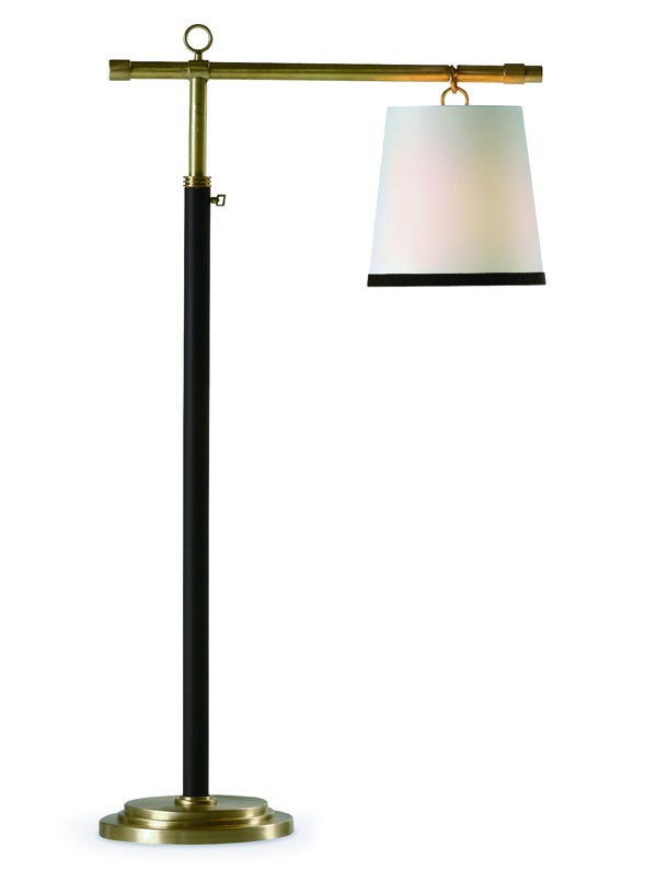 Baker Peony Floor Lamp, Price Upon Request An elegant, stark-white Italian shade, suspended on a brass stand, creates a tranquil atmosphere. A design inspired by a metal Japanese lantern from the 1930s. At Brougham Interiors, 604 736 8822 broughaminteriors.com