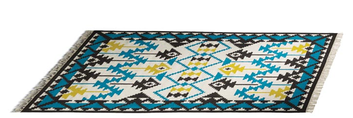 BoConcept Peru Rug, $829 Turquoise blue and bright yellow intertwine in glee. The rug's exotic, playful pattern embodies the irrepressible vitality of South America. At BoConcept, 604 730 8111 www.boconcept.ca