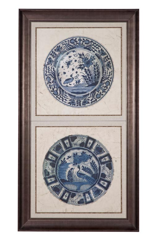 Embellished Earthware II Wall Décor, $899 Blue and white porcelains set in photo frames. The profound and lasting beauty brought by these traditional pieces will grace any home. At Decorium, 800 232 2267 www.decorium.com