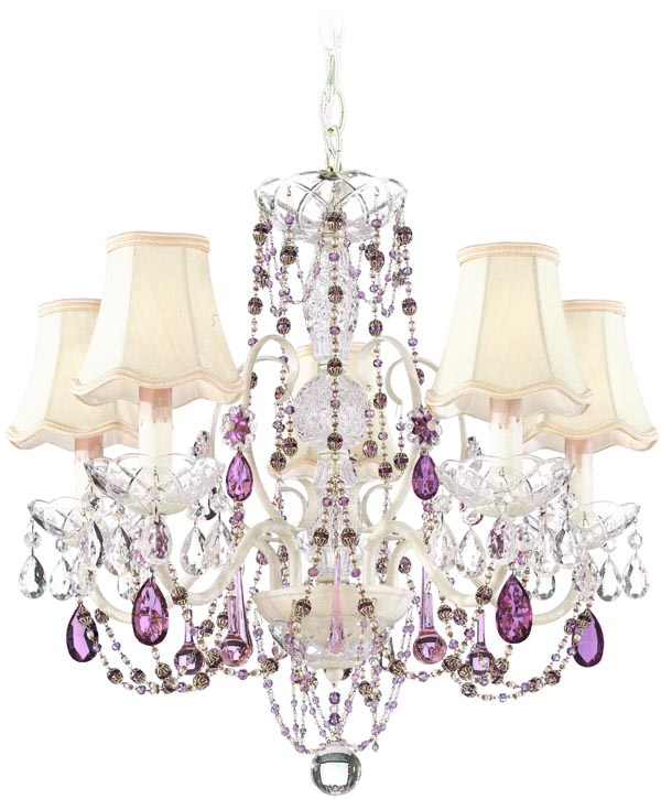 Schonbek A La Mode 1845 Chandelier, $1,095 Lavender crystals and pink lampshades, embellished curves like jewellery for a house. Turn any space into a romantic daydream. At The Lighting Warehouse, 604 270 3339 thelightingwarehouse.com