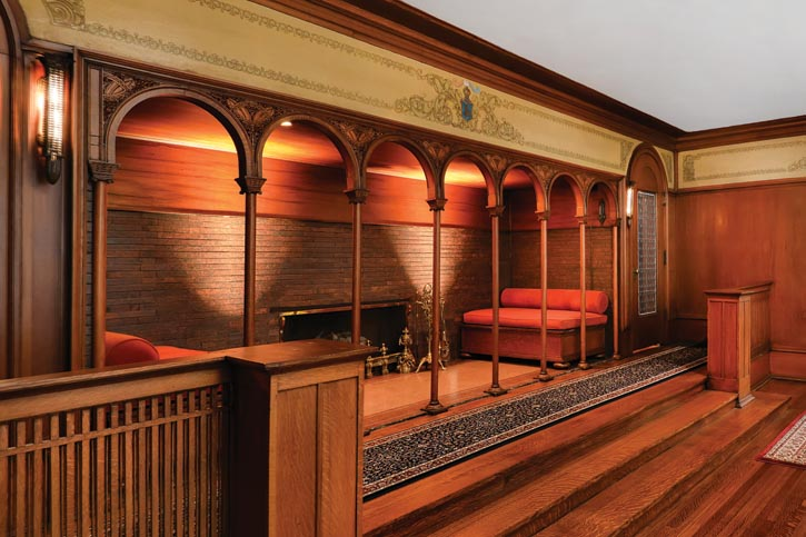 Wright designed an inglenook, a fireside recess, directly opposite the front entrance.