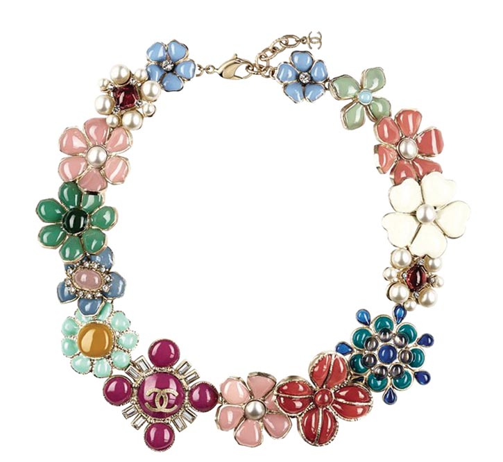 Chanel Metal necklace with multicoloured flowers in enamel, $8,400