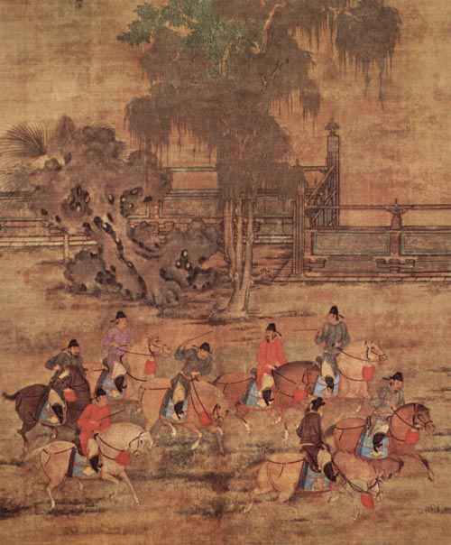 To celebrate the Qingming Festival, the ancient Chinese organized spring outings, played on swings and enjoyed other fun customs. The ink wash painting to the right depicts imperial court nobles horseback riding during a spring outing. Spring Excursion of Eight Noblemen by Zhao Yan (907 – 960 AD)