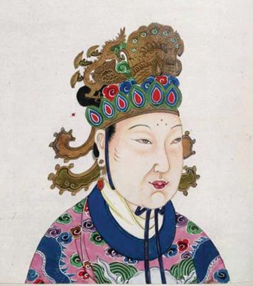 Empress Wu Zetian usurped the throne, set up a system of spies and secret police, and killed or exiled anyone she saw as a threat. She is suspected of even killing two of her own children to advance her ambitions. Nevertheless, she was a capable administrator of the state. Her rule ended in a coup, engineered by Di Renjie, and the Tang Dynasty was restored. Image taken from An 18th century album of portraits of 86 emperors of China, with Chinese historical notes. Originally published/produced in China, 18th century.