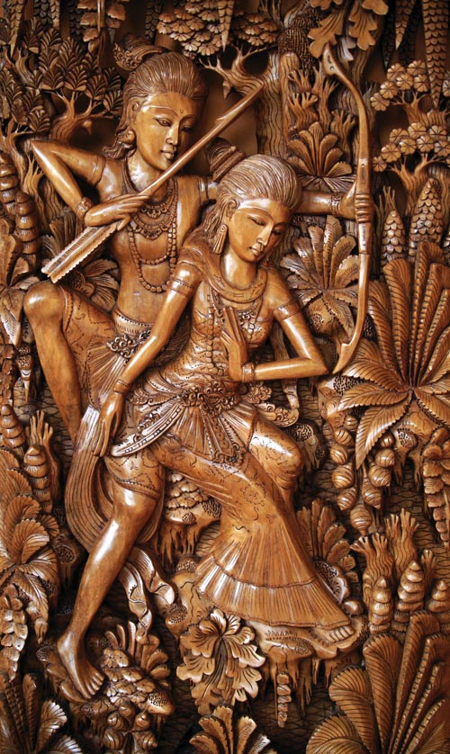 Traditional relief wood carving,