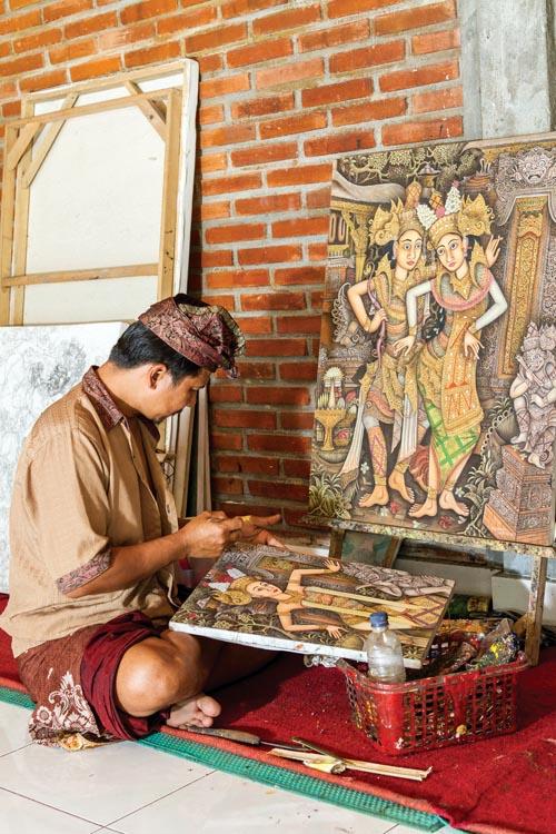 Balinese painter at work,