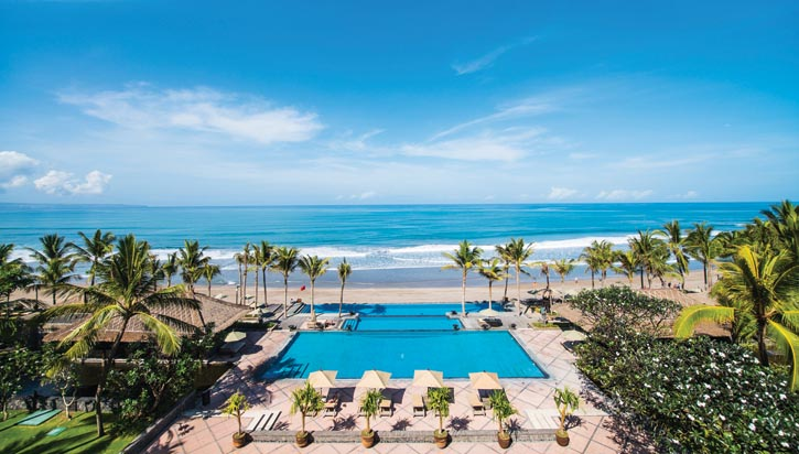 The Legian Hotel's infinity pool on Seminyak Beach.