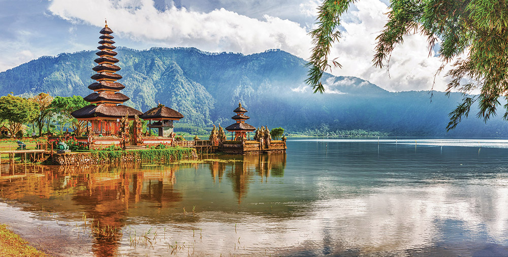 The water temple, Pura Ulun Danu, on Lake Bratan brings blessings to all the water in the mountains near Bedugul.