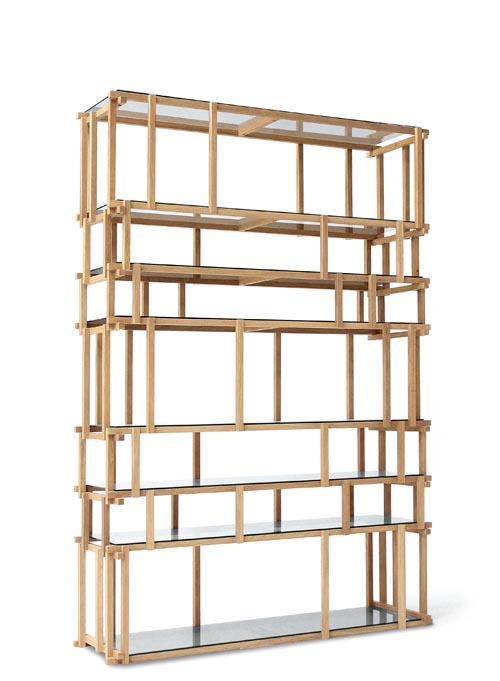 Living Divani Off Cut Bookshelf, Starting at $5,159 Assemble wood splints of different lengths, just like toys in a child's hands, and apply endless imagination and creativity. Voilà. Shelf options include crystal and wood. at Livingspace, 877 683 1116 www.livingspace.com