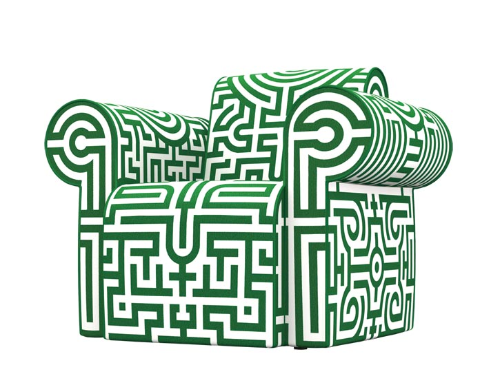 Moooi Labyrinth Chair, Green, $4,631 Slightly exaggerated armrests and a maze-like upholstery pattern together create a fairytale-like unreality, but also invoke the simple pleasures of childhood. at Livingspace, 877 683 1116 www.livingspace.com