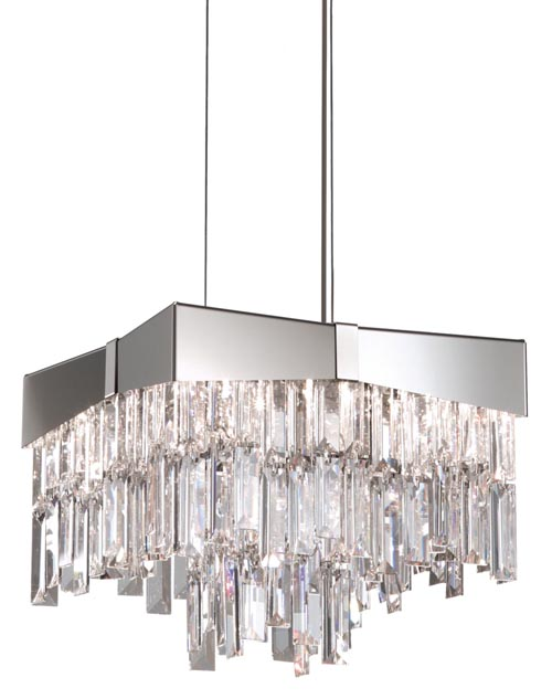 Schonbek Riviera RF2410 Crystal Pendant, Price Upon Request The bow-like shape renders the tough metal frame playful. Sparkling crystal strips, draped in layers, illuminate and entertain. at The Lighting Warehouse, 604 270 3339 thelightingwarehouse.com