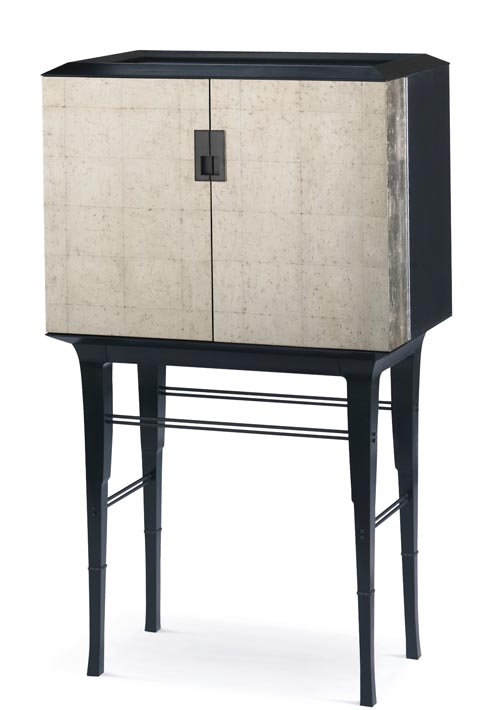 Baker Kiosk Butlers Cabinet, Price Upon Request   Simple lines, generous detailing, and glowing 1920s European style stand like a stylish, noble butler. Rice-textured cabinet doors are in stark contrast to black basalt-finished legs.   at Brougham Interiors, 604 736 8822    broughaminteriors.com