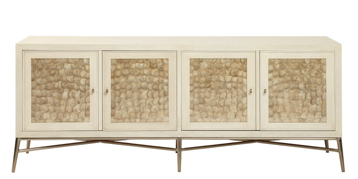Bernhardt Salon Buffet Inset Capiz shells reflect the glamourous side of nature. The buffet is set simply on a metal frame and has a lovely alabaster finish. At Paramount Furniture, 604 273 0155 paramountfurniture.ca