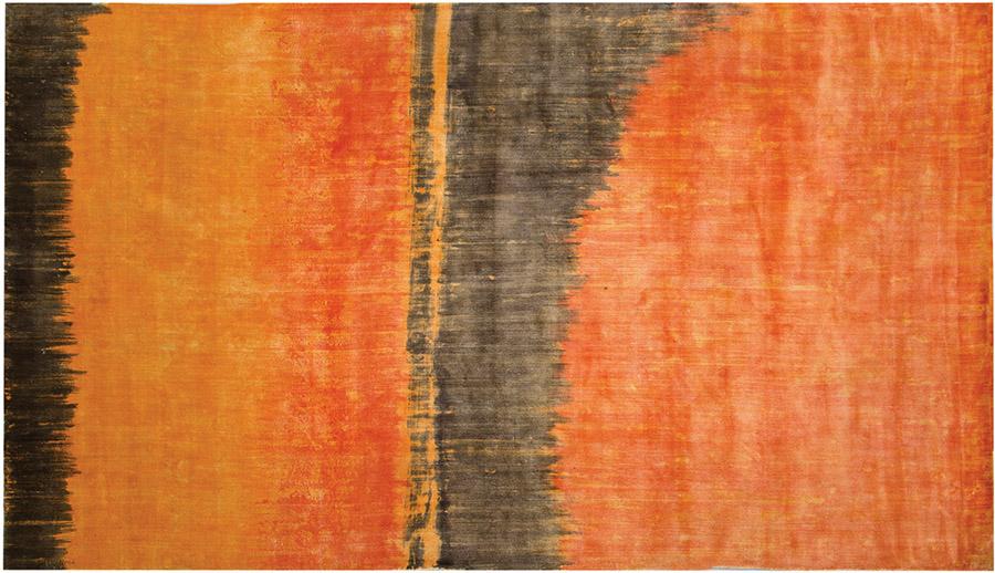 rug orange brown handpainted art contemporary  design
