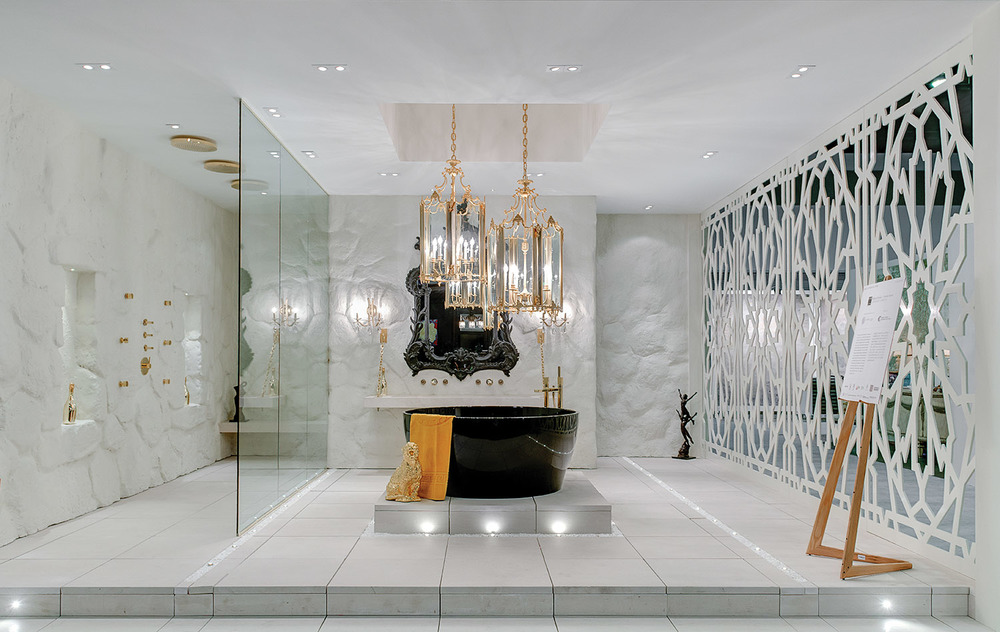 The belle of the ball at the Luxury Home & Design Show was the custom designed Cantu Bathrooms en suite featuring cave-like walls, Moorish screens and gold finishes. The rare Cathedral antique chandeliers balanced old world enchantment and modern glamour.