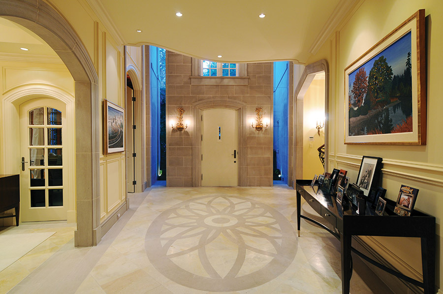 Indiana and Jerusalem limestone flooring used throughout is a luxurious 4 to 6 inches thick.