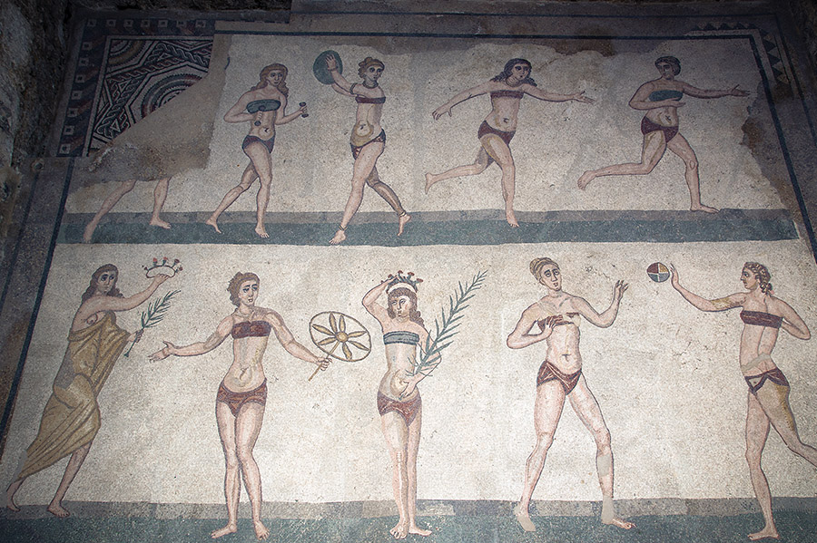 The Villa Casale in Piazza Armerina, Sicily, contains the largest and most sophisticated collection of Roman mosaics in the world. There are depictions of a hunt, women athletes in bikinis, a kiss between lovers, and even a boy on skis.