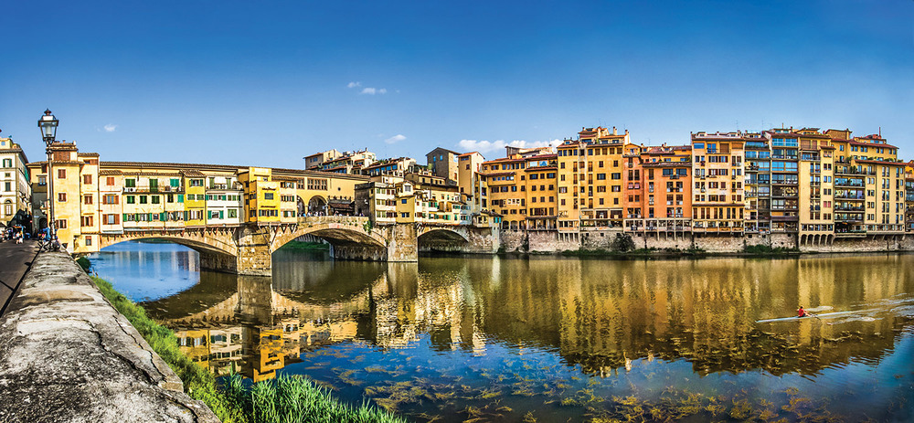 Florence was devastated during the fighting of World War II, when all of its bridges were destroyed except for the Ponte Vecchio, which was built during medieval times. Today, the bridge is known for housing the finest jewelry stores in Florence.