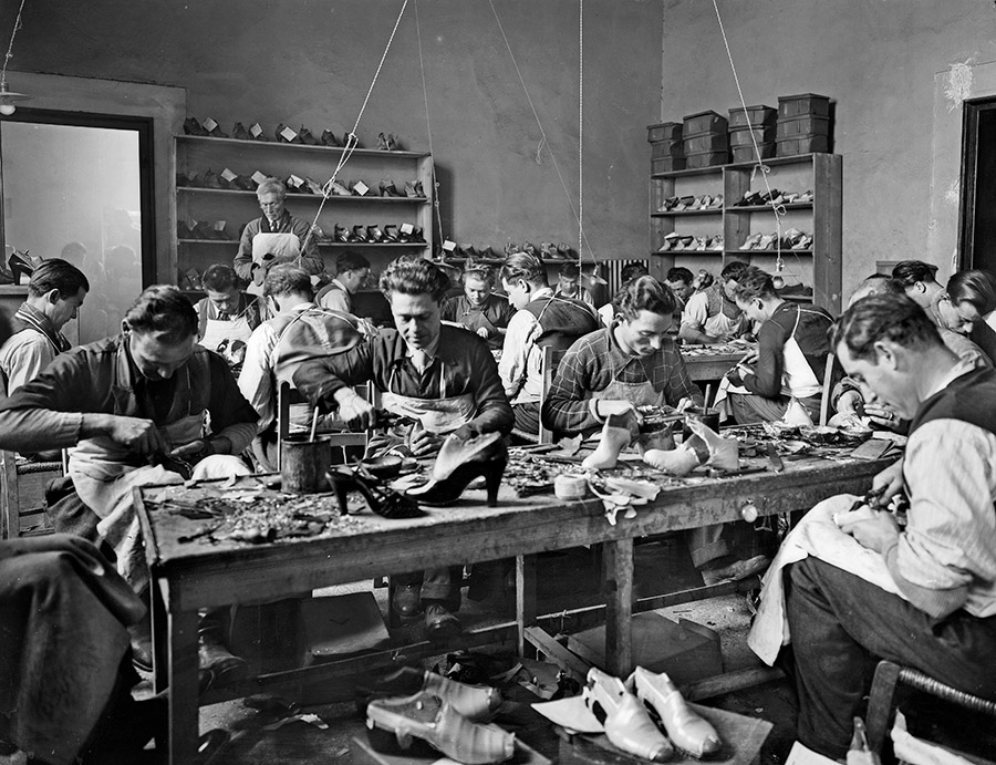 hoemakers busy at work in 1937 at the Ferragamo footwear workshop. In 2013, the Ferragamo Foundation was created by Ferragamo's fashion house, Salvatore Ferragamo Italia, S.p.A., to mentor young designers according to the ideals and legacy of the famous designer.