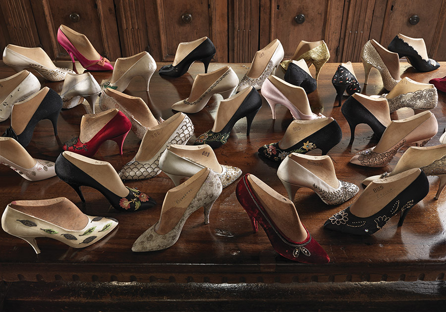 A display of 1950s evening shoes from the Salvatore Ferragamo museum. The trend for heel height at the time was around 7cm.