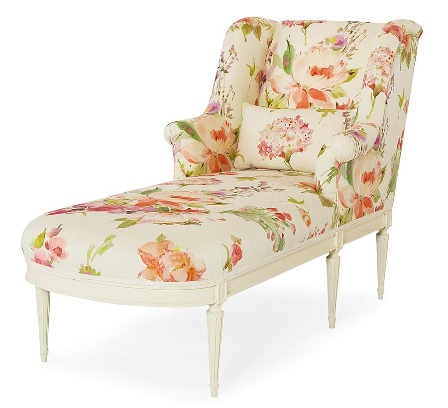 Floral Chaise watercolor lounge chair